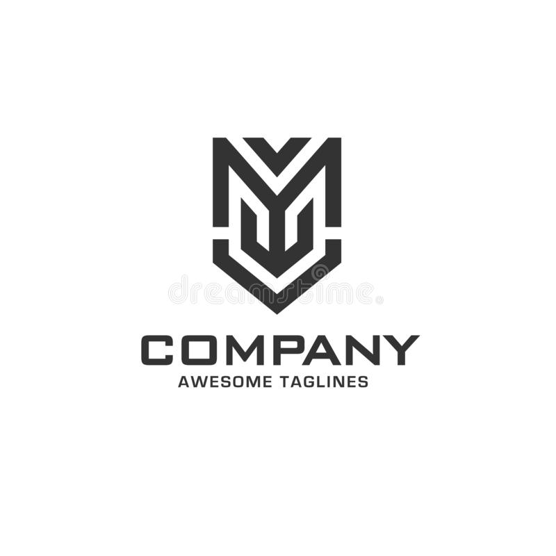 Creative initial letter m with shield logo royalty free illustration