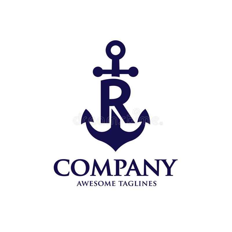 Initial letter r with Anchor blue color logo stock illustration