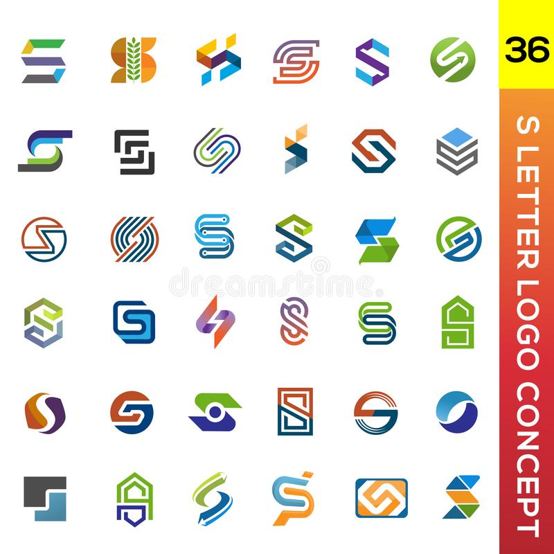 Creative initial letter S logo collection stock illustration