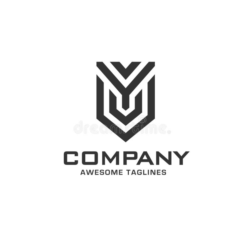 Creative initial letter y with shield logo stock illustration