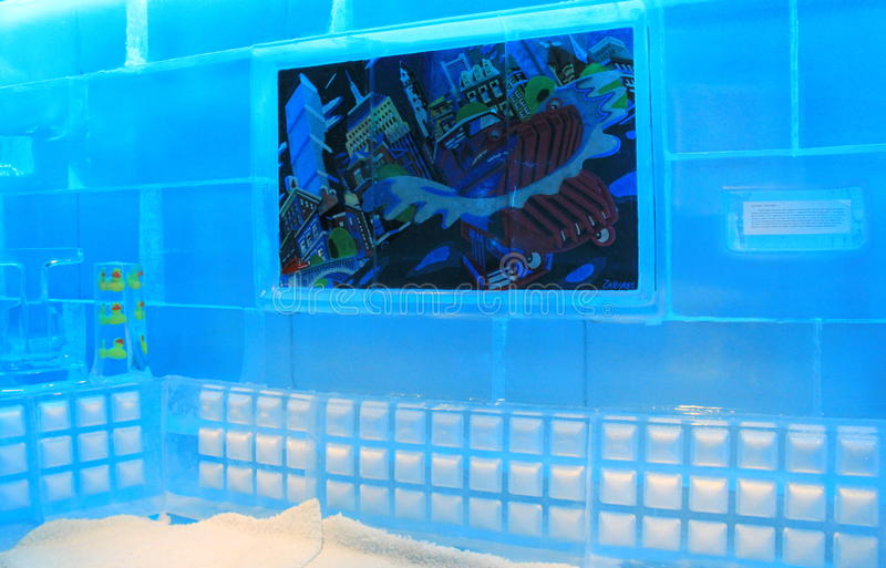 Creative and interesting artwork inside the wildly popular Frost Bar,Boston,Mass,2014. Interesting and colorful artwork and decorations set in ice cubes arranged stock image