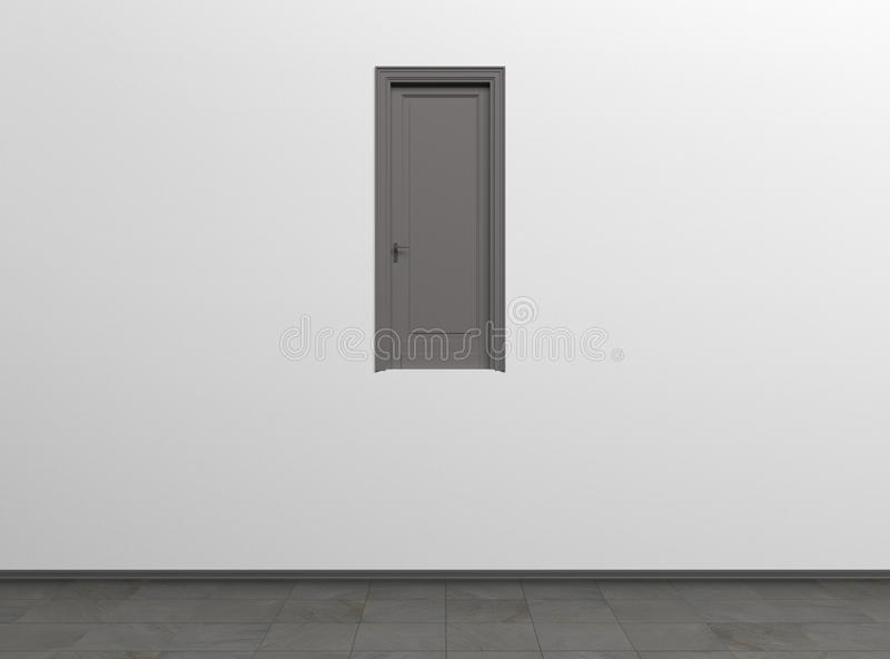 Creative interior concept of a room with one door. Conceptual realism. Modern Art.  3D rendering illustration. vector illustration