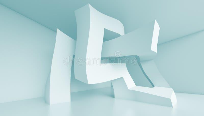 Creative Interior Design. 3d Illustration of Blue Creative Interior Design royalty free illustration