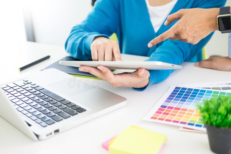 Creative or Interior designers teamwork with pantone swatch and royalty free stock image