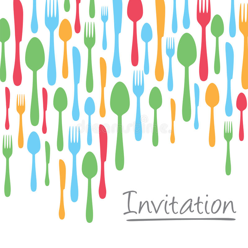 Creative invitation card design with cutlery borde. R. This image is a vector illustration vector illustration