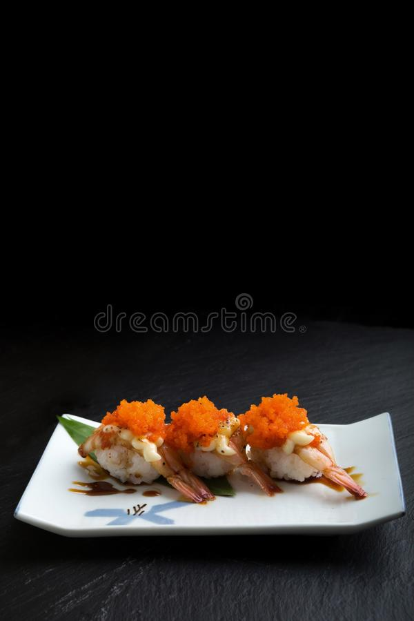 Creative Japanese food menu,sushi Steamed shrimp royalty free stock photography