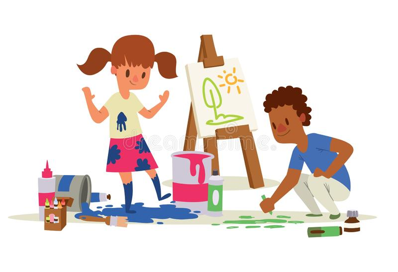Creative kids banner vector illustration. Girl and boy drawing, painting, sketching on easel. Education, enjoyment. Concept. Pencils, watercolor, crayons. Dirty stock illustration