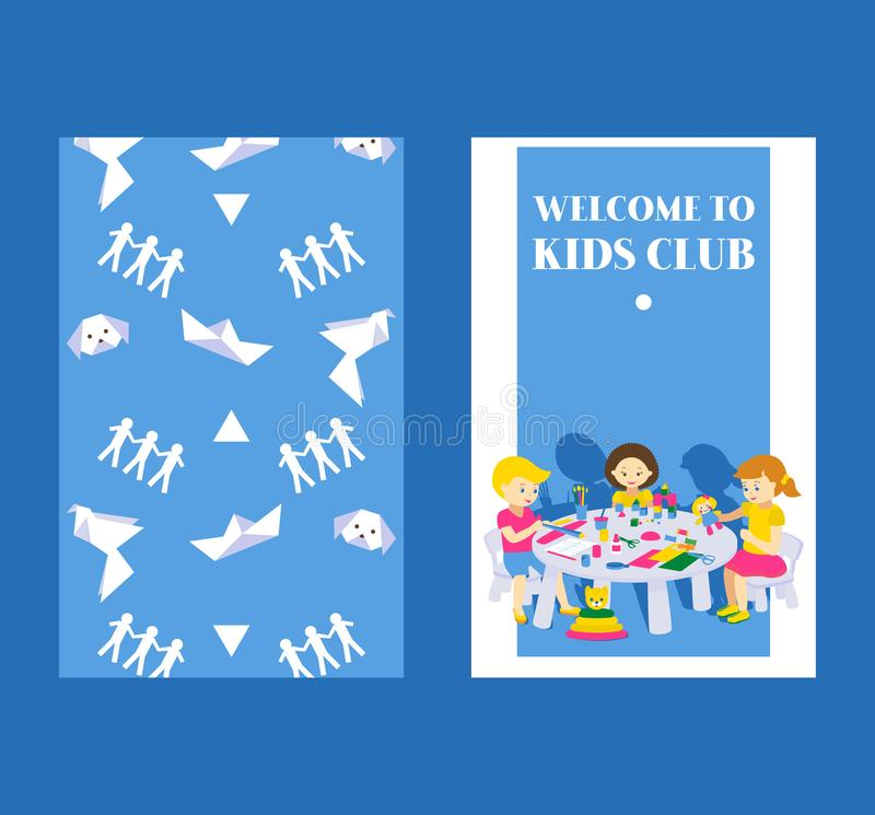 Creative kids banner vector illustration. Girls and boys drawing, painting, cutting paper, sketching. Education and. Enjoyment concept. Colorful pencils royalty free illustration