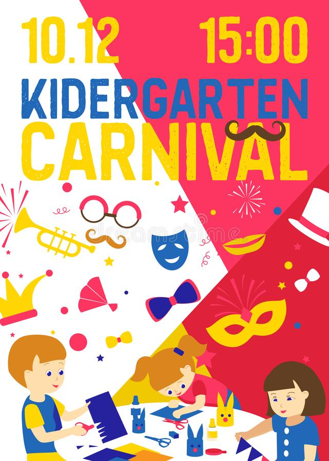 Creative kids banner vector illustration. Kindergarten carnival. Girls and boys drawing, painting, cutting paper royalty free illustration