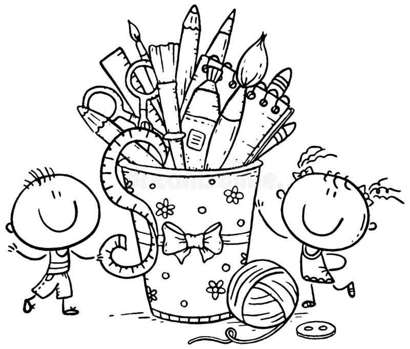 Creative kids with crafting tools, black and white. Clipart stock illustration
