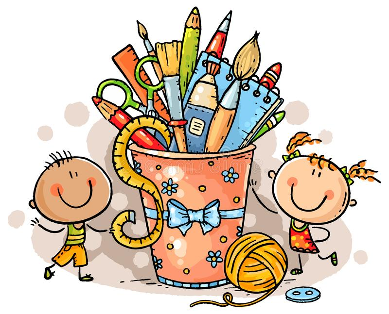 Creative kids with crafting tools, no gradients. Creative kids with crafting tools, colorful clipart, no gradients vector illustration