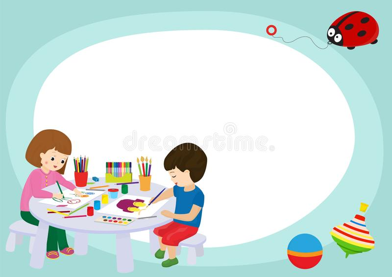 Creative kids frame banner vector illustration. Girl and boy drawing, painting, cutting paper, sketching. Education. Concept. Pencils, watercolor, plasticine stock illustration
