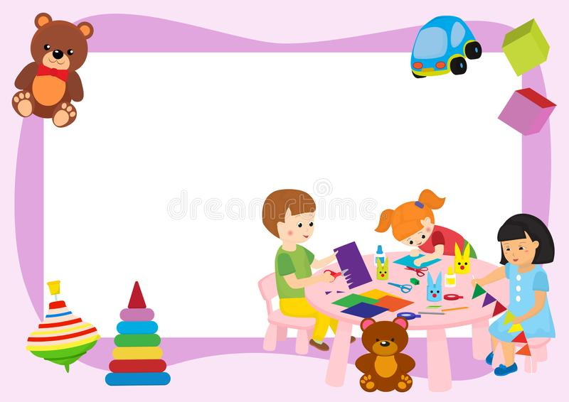 Creative kids frame banner vector illustration. Girls and boys playing, painting, cutting paper, sketching. Education. And enjoyment concept. Colorful pencils stock illustration