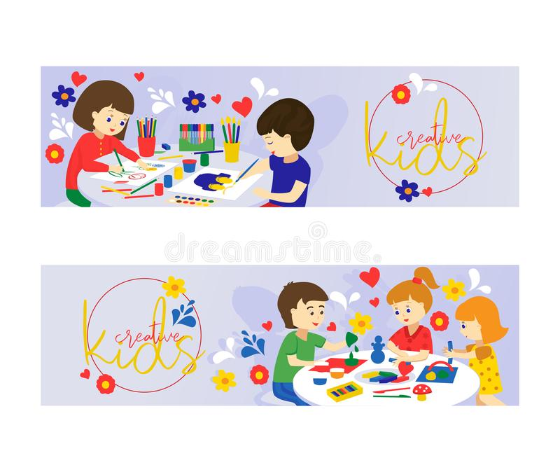 Creative kids set of banners vector illustration. Girls and boys playing, painting, cutting paper, sketching. Education stock illustration