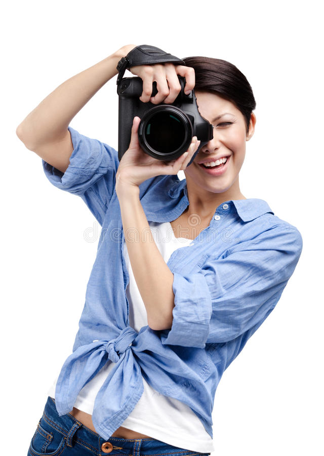 Creative lady-photographer takes shots royalty free stock photography