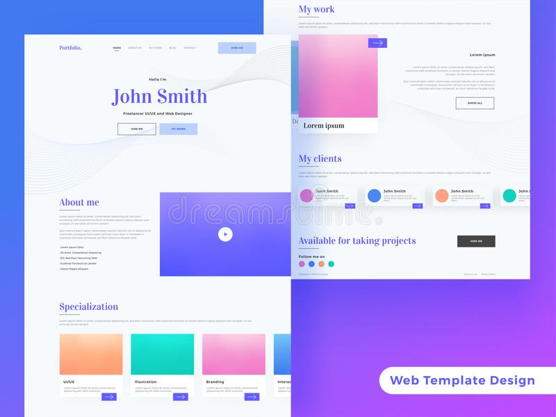 Creative landing page or responsive web template design for free vector illustration