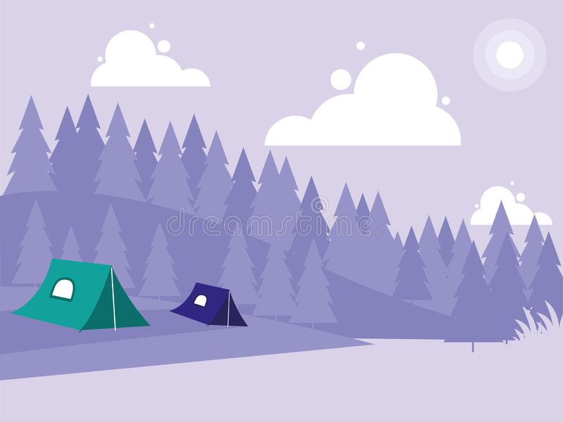 Creative landscape with mountains and camping tents. Vector illustration stock illustration