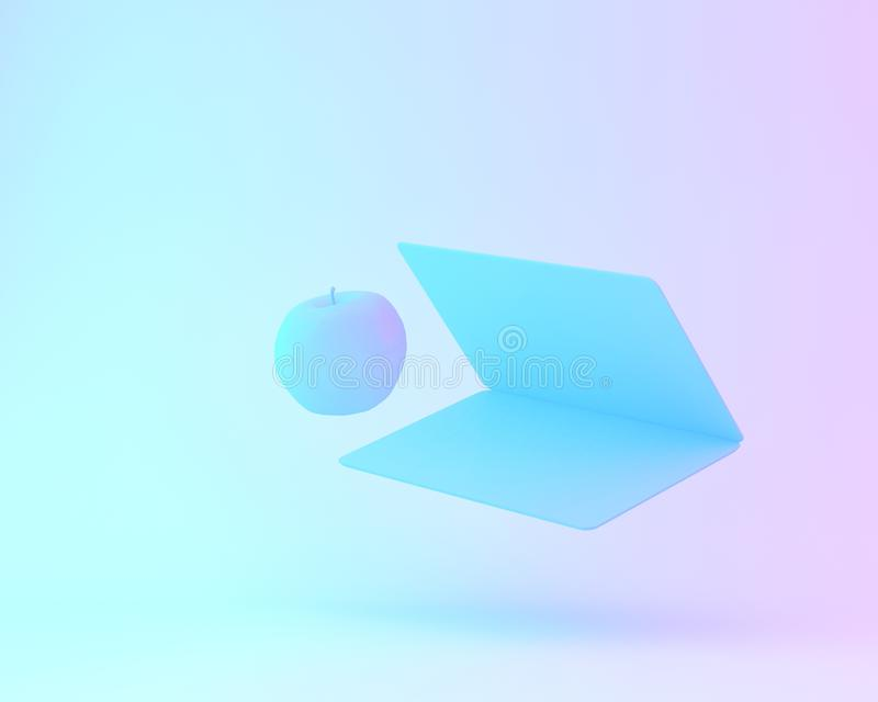 Creative layout of apple with notebook computer painted in white. And vibrant bold gradient purple and blue holographic color lights background. minimal office stock illustration