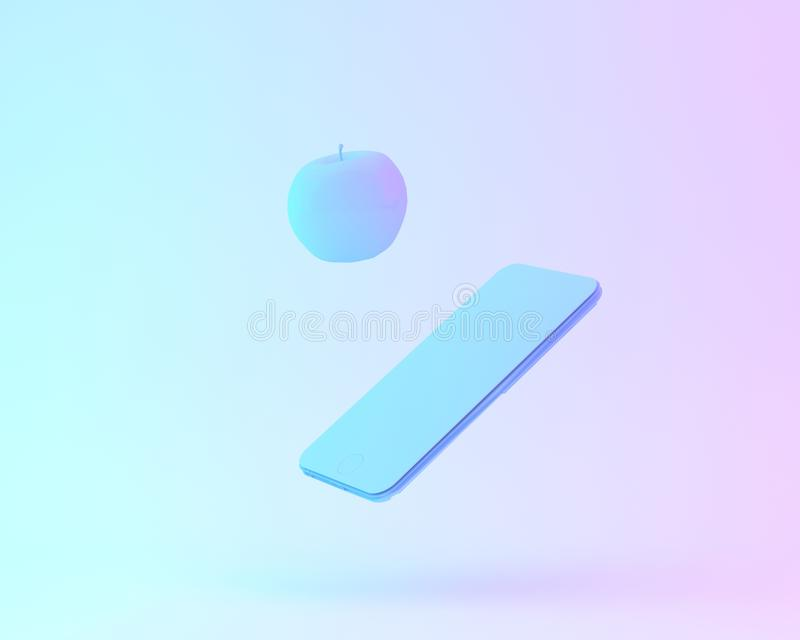 Creative layout of apple with smartphone painted in white and vi. Brant bold gradient purple and blue holographic color lights background. minimal office concept stock illustration
