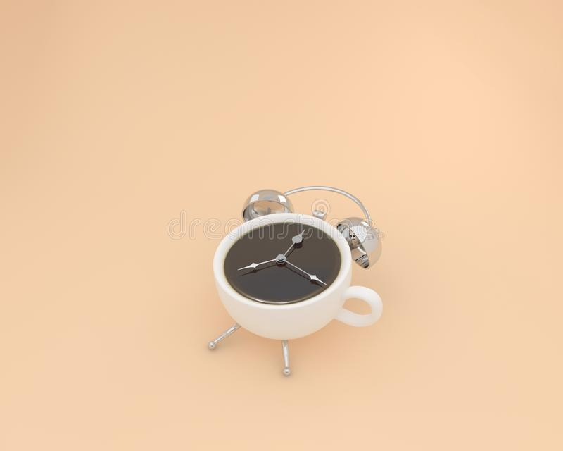 Creative layout of coffee cup alarm clock on orange blue background. minimal coffee time concept. food idea creatively to stock illustration