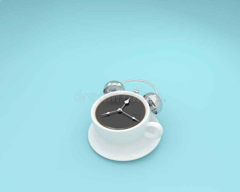 Creative layout of coffee cup alarm clock on pastel blue background. minimal business concept. food idea creatively to produce w. Ork within an advertising royalty free illustration