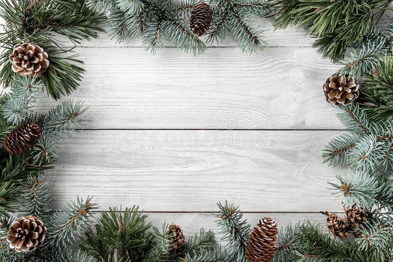 Creative layout frame made of Christmas tree branches and pine cones on white background. Xmas and New Year theme. royalty free stock photos