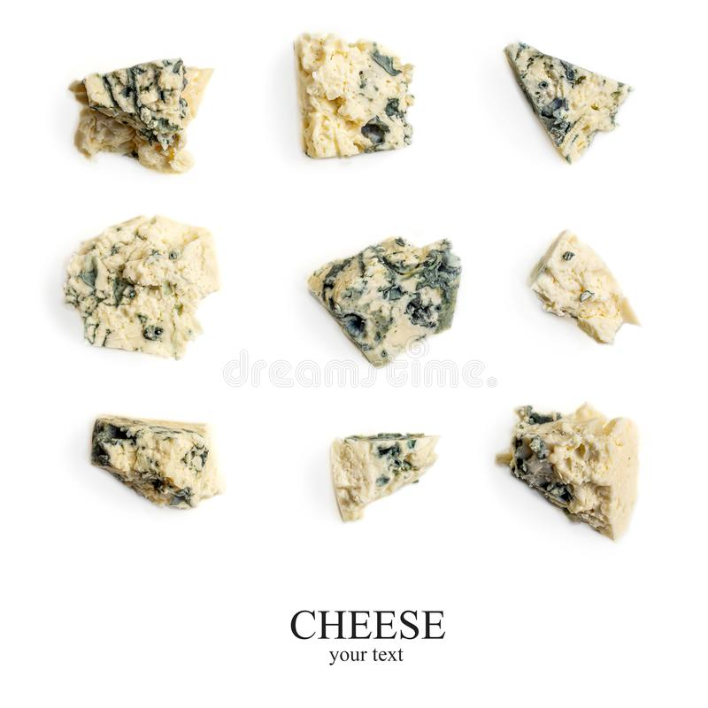 Creative layout made of Blue cheese. Gorgonzola cheese isolated on a white background. Food concept, close up. Flat lay stock photography