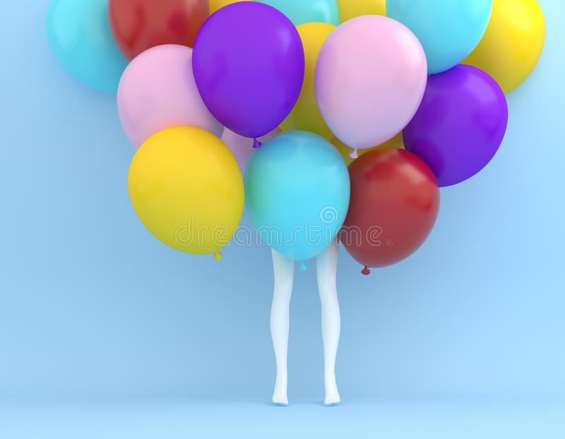 Creative layout made of colorful balloon with white legs woman o. N pastel blue color background. minimal idea concept stock photos