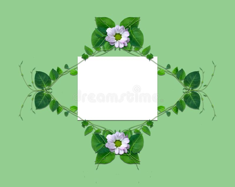 Creative layout made of flowers and leaves with paper card note. Flat lay. Nature concept. New design royalty free illustration