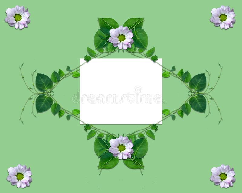 Creative layout made of flowers and leaves with paper card note. Flat lay. Nature concept. New design stock illustration