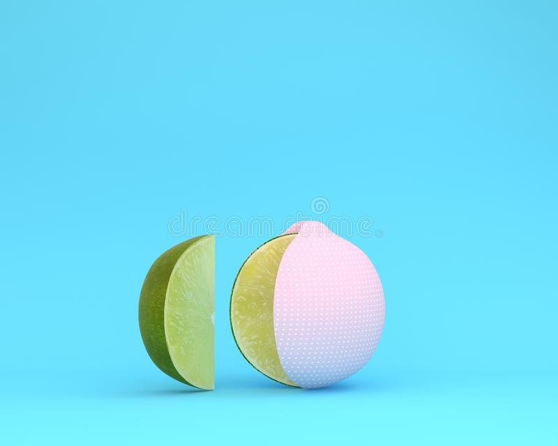 Creative layout made of Lemon pink polka dots separate pieces on. Blue pastel background. minimal idea food concept stock illustration