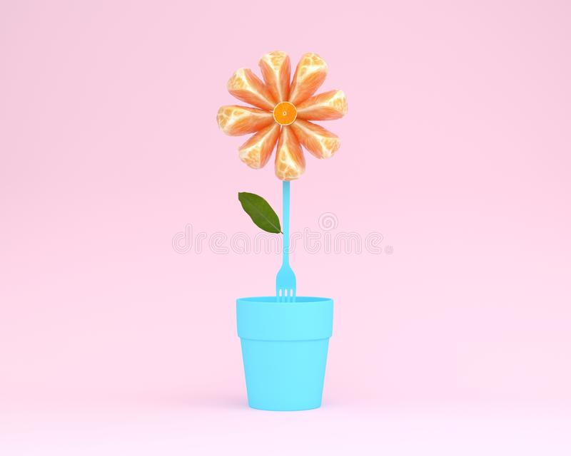 Creative layout made of orange slice flower with flowerpot on pi. Nk background. minimal idea concept royalty free illustration
