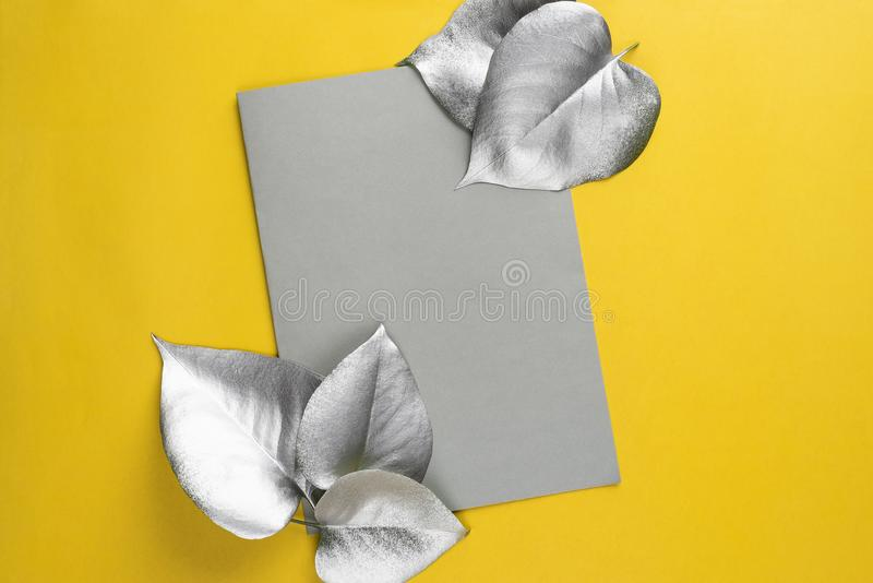 Creative layout made of silver leaves with paper card note on yellow background. Flat lay. Nature concept royalty free stock photo