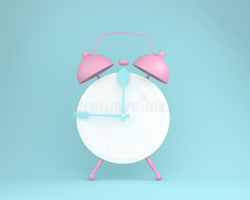 Creative layout made of spoon and fork on round plate in a form. Of pink alarm clock on blue pastel background. minimal idea business concept stock illustration