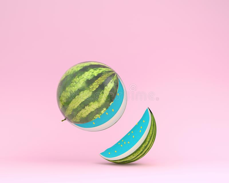 Creative layout made of watermelon separate pieces on pink paste. L background. minimal idea food concept royalty free illustration