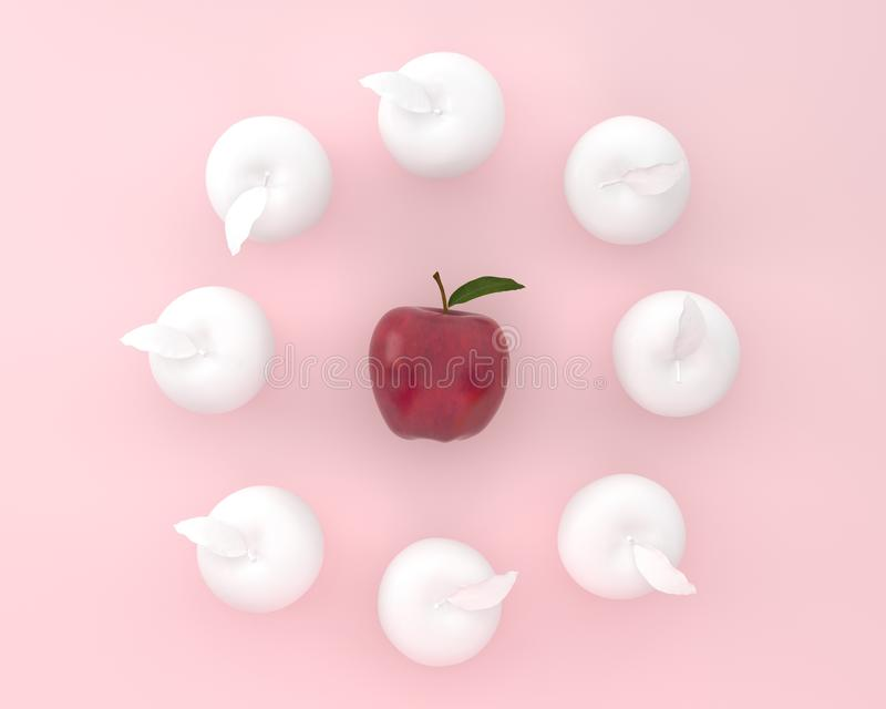 Creative layout of outstanding apple on pink color background. m. Inimal food and fruit ideas. Difference concept royalty free stock photos