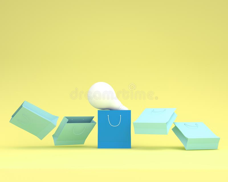 Creative layout outstanding blue paper shopping bags with light. Bulbs on yellow background. minimal ideas. concept of retail consumers and shoppers looking for vector illustration