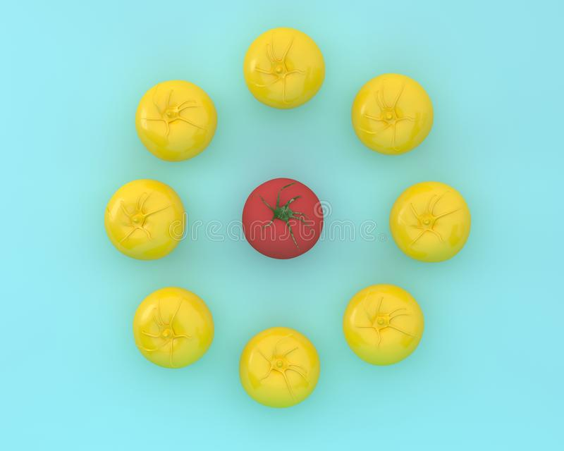 Creative layout of outstanding tomato on blue color background. Minimal food and fruit ideas. Difference concept royalty free stock images