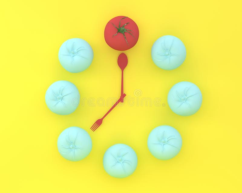 Creative layout of outstanding tomato clock on yellow color back. Ground. minimal idea concept. Food ideas creatively to produce work within an advertising royalty free stock photo