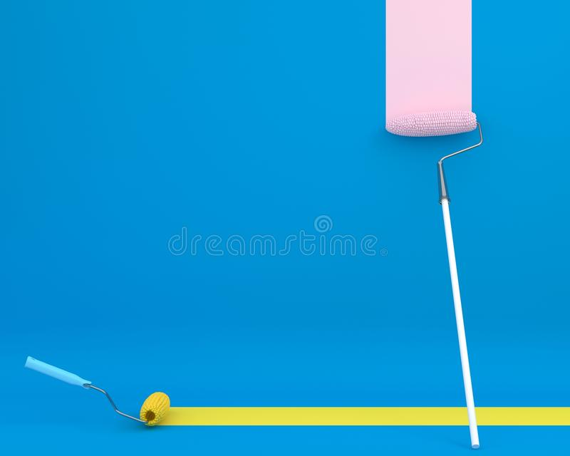 Creative layout of paint roller corn is brush color trail on blu. E background. minimal idea concept. Ideas creative to produce work within banners and stock illustration
