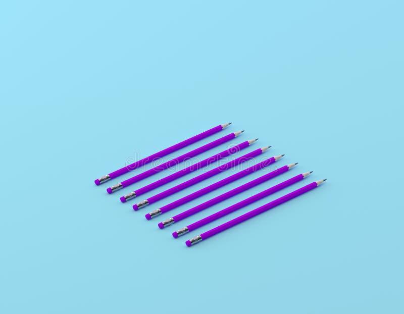 Creative layout of purple pencil on blue color background. minimal ideas concept. Creative layout of purple pencil on blue color background. minimal ideas stock photo