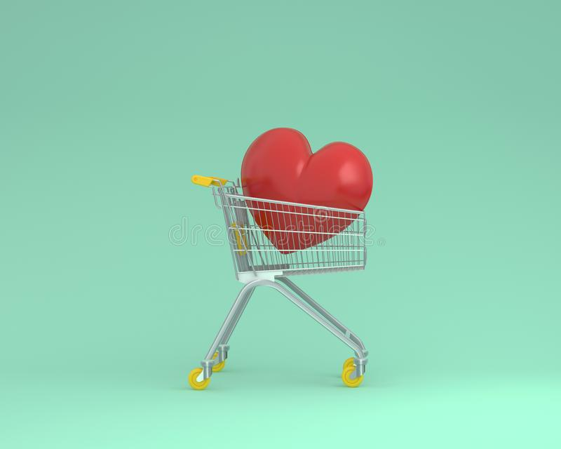Creative layout of shopping cart with red heart on green color b. Ackground. minimal business ideas. concept of retail consumers and shoppers looking for special royalty free stock photos