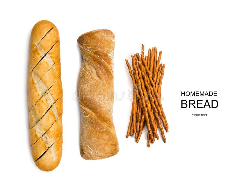 Three types of bread isolated on white top view. Creative layout with three types of bread loafs isolated on white top view. Bread sticks or pretzels, garlic royalty free stock photo