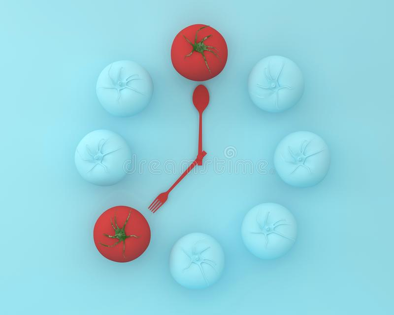 Creative layout of tomato clock on blue color background. minima. L idea concept. Food ideas creatively to produce work within an advertising marketing stock image