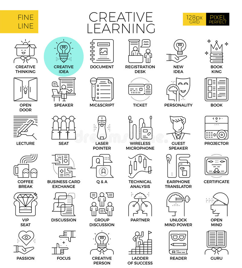 Creative learning. Concept detailed line icons set in modern line icon style for ux, web, app design royalty free illustration