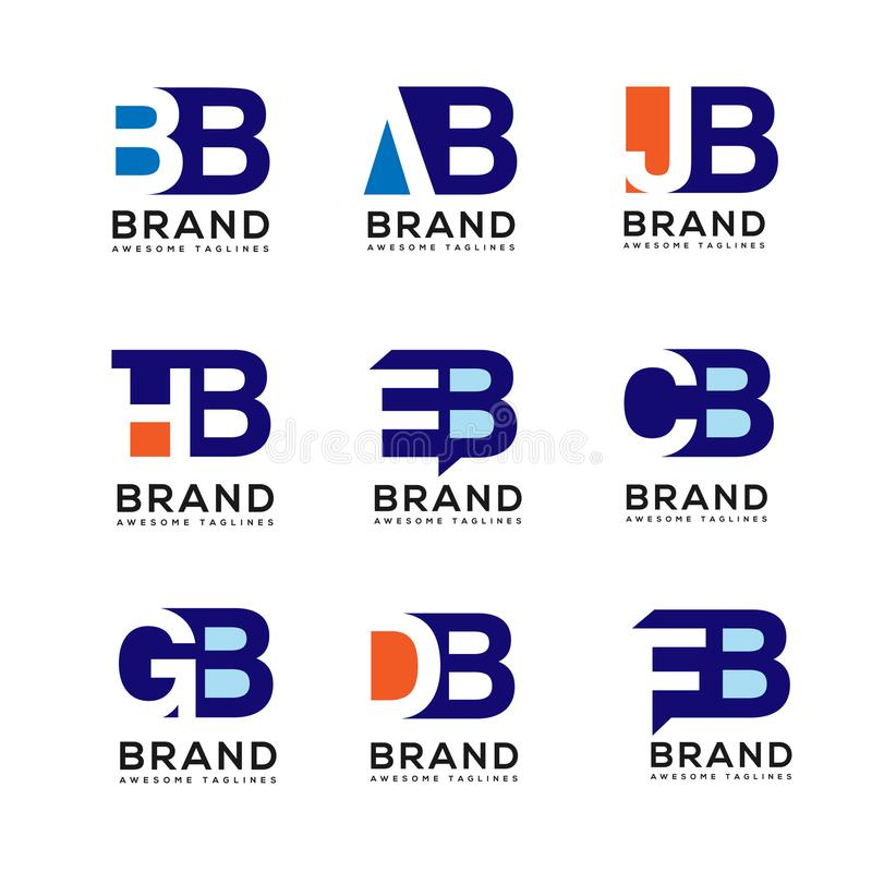 Creative Letter combine logo design elements. Simple letter BB,AJ,AB, HB,AB,EB,GB,DB,FB logo,Business corporate letter logo design vector royalty free illustration