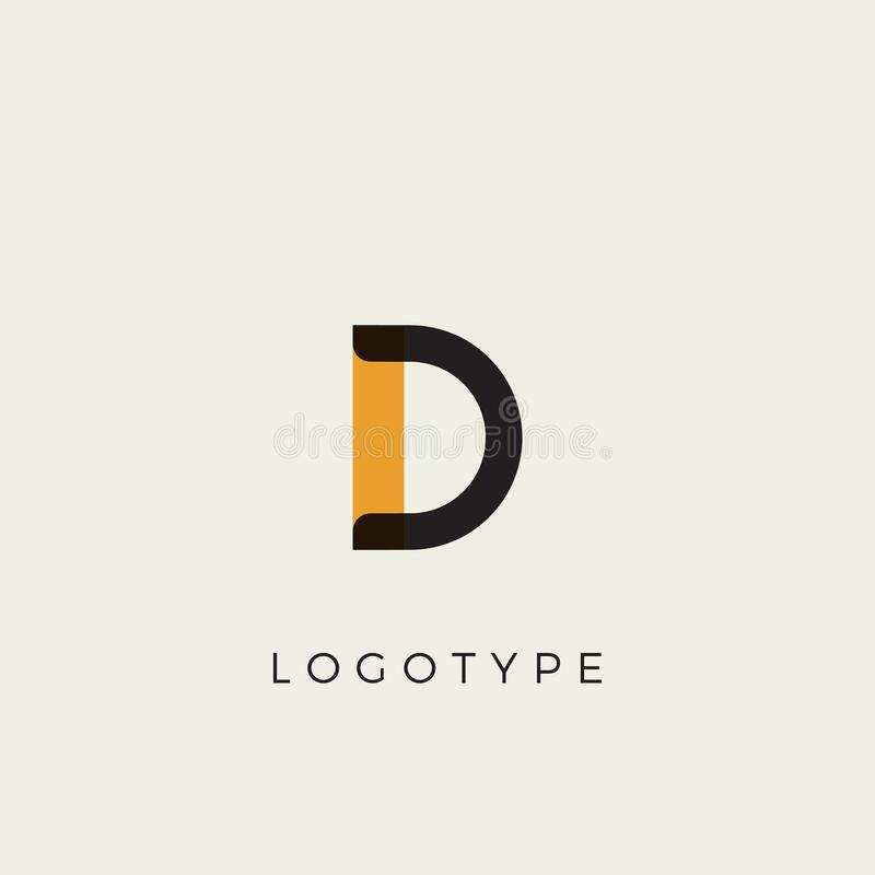 Free Creative Letter D For Logo And Monogram. Minimal Artistic Style Letter With Yellow Spot For Education, Festive And Party Royalty Free Stock Photos - 208703338