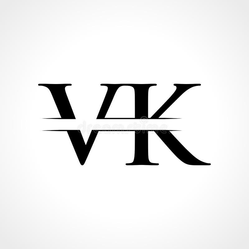 VK V K Letter Logo Design Stock Vector. Illustration Of