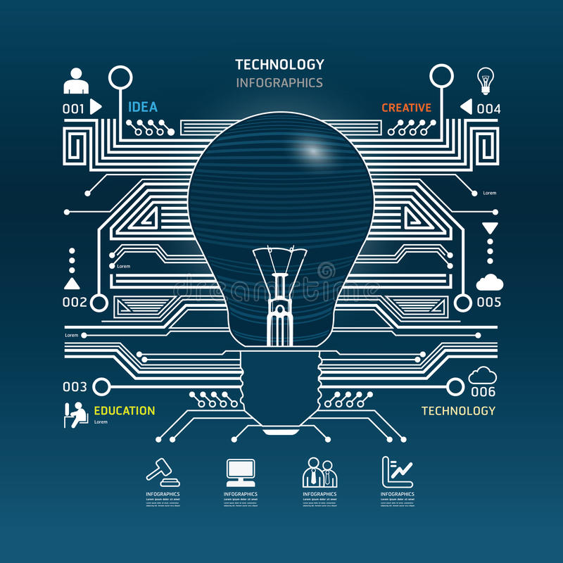 Creative light bulb abstract circuit technology infographic.vector stock illustration