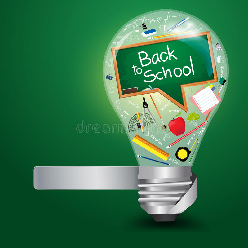 Vector Creative light bulb with back to school. Creative light bulb with back to school concept, Vector illustration template design royalty free illustration